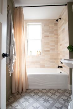 Creme shower tile. Our first floor bathroom is officially done and I'm in love with the cream Cloe tile we used in the shower. It looks sleek, organic, and perfect! Come take a look at this bathroom makeover. #bathroom #cloetile #showertile Bathroom Tile Inspiration, Bathroom Solutions, Home, Bathroom Makeover, Diy Bathroom Decor, Bathrooms Remodel, Home Decor Tips, Bathroom Design, Bathroom Decor