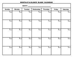 Month At A Glance Blank Calendar Printable | Monthly for Month At A Glance Blank Calendar Template