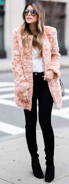 Pink Faux Fur Coat Fall Street Style Inspo by The Girl From Panama