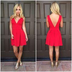 Deep V Tea & Crumpets Dress - RED TOLO