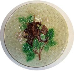 Leaf on basketweave  dish