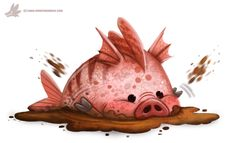 Daily Paint #1021. Mud-fish by Cryptid-Creations     Time-lapse, high-res and WIP sketches of my art available on Patreon (: