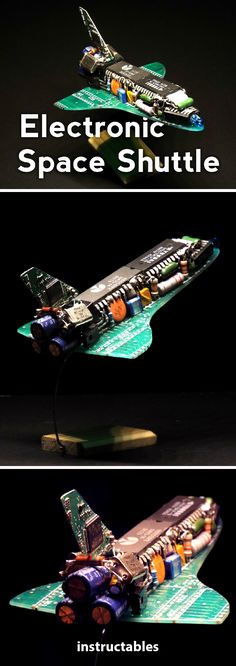 Electronic Space Shuttle  #upcycle #electronics #model