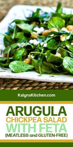 My Favorite Food, Favorite Recipes, Arugula Salad, Chickpea Salad, Salad Dressing Recipes, Low Carb Recipes, Feta, Green Beans, Vegetarian