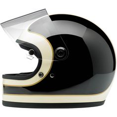 Gringo S Helmet-LE Tracker Black Vintage White • Expanded polystyrene inner shell • Hand-sewn brushed Lycra liner w/ contrasting diamond-stitched quilted open-cell foam padding • Meets DOT safety standards • Internal BioFoam chin pad with contrast stitching • Injection-molded, laser CNC cut polycarbonate eye port shield with stylish, rugged aluminum hinge covers and mounting hardware • XS through XXL
