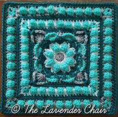Crochet Granny Square 18 - Wildflower Mandala Square - Free Crochet Pattern - The Lavender Chair - The Lotus Flower Mandala is this a gorgeous by square with various textures and color changes. Get the FREE crochet pattern here. Grannies Crochet, Crochet Afghans, Crochet Squares Afghan, Crochet Blocks, Crochet Yarn, Crochet Stitches, Free Crochet, Granny Squares, Kids Crochet
