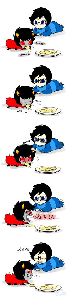 Grub Karkat and baby John, I love how Karkat is growling but John think it's the funniest thing!