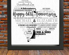 Personalized 60th Anniversary gift Diamond wedding by BlingPrints