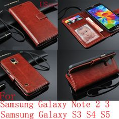 Luxury-PU-Leather-Wallet-Flip-S-VIEW-Case-Stand-Cover-For-Samsung-Galaxy