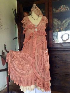 Luv Lucy Dress Vintage Apricot boho gypsy mori by LuvLucyArtToWear, $400.00