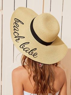 """""""Beach Babe"""" Letter Embroidery Straw Hat   My Luxury Intimates Plus Size One Piece, Types Of Lettering, Badass Style, Cute Hats, Beach Babe, Trendy Outfits, Black And Grey, Beige, Boho"""
