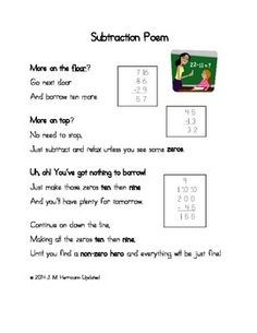 There are different versions of the Subtraction Poem out there. So what makes my version different? My version is complete and also applies to older grade students who struggle with subtracting and regrouping large numbers. What happens when your students hit a wall of confusion when subtracting across zeros?