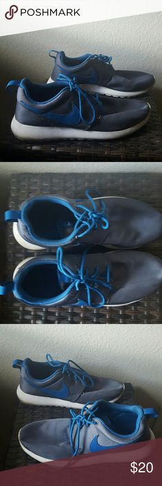 Gray and Blue Nikes Gray and Blue Nike Rosche Runs , good condition, comfortable to run or walk in Nike  Shoes Sneakers