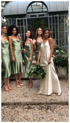 Silk Bridesmaid Dresses, Satin Dresses, Wedding Goals, Wedding Day, Boho Wedding, Silk Slip, Dream Wedding Dresses, Slip Wedding Dress, Green Wedding