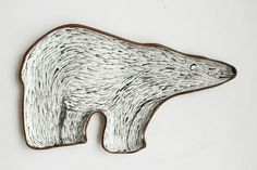 Bear plate  polar bear ceramic plate with ruddy di clayopera, $35.00
