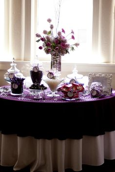 eggplant color candy buffet table