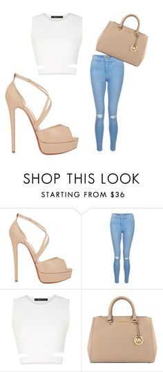 """""""Sem título #143"""" by dudinhacitolin ❤ liked on Polyvore featuring Christian Louboutin, New Look, BCBGMAXAZRIA and MICHAEL Michael Kors"""