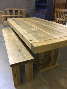 Rustic Plank Butchers table with a cube base and matching bench. CAN BE MADE ANY SIZE! www.cobwebsfurniture.co.uk
