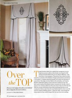Our Madelyn Valance Sewing Pattern featured in Southern Lady Magazine, Sept. 2014. www.patemeadows.com.