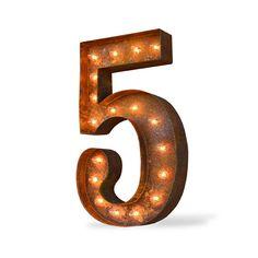 """24"""" Number 5 (Five) Sign Vintage Marquee Lights"""