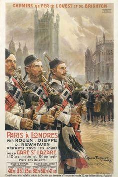 chemins de fer de l'ouest et de brighton - Paris à Londres par Rouen, Dieppe et Newhaven - 1907 - illustration de Maurice Toussaint -