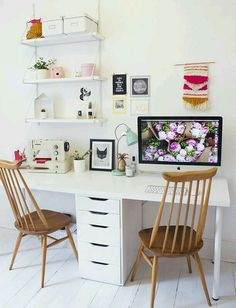 DIY work space ideas are considered to be very important, especially for those who makes money from home. Work space is not a home office. A home office Home Office Space, Home Office Design, Home Office Decor, House Design, Office Ideas, Ikea Office, Workspace Design, Desk Space, Creative Office Decor