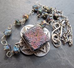 Wire Wrapped Necklace Gemstone Short Silver Choker Druzy by artdi, $185.00