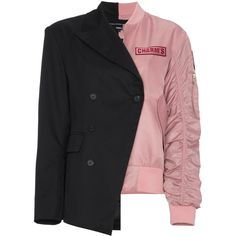 Charm's Incongruity MA-1 blazer bomber jacket ($468) ❤ liked on Polyvore featuring outerwear, jackets, black, blazer jacket, blouson jacket, bomber style jacket, flight jackets and bomber jackets