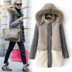 2015 New Parkas Mujer European Women's Long Thick Cotton Station Code Splicing Warm Hooded Ladies Real Collar Coat Jacket 0705-in Down & Parkas from Women's Clothing & Accessories on Aliexpress.com US $34