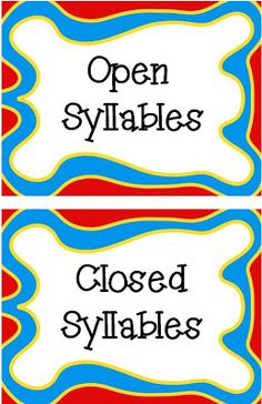 Classroom Freebies: Open & Closed Syllables