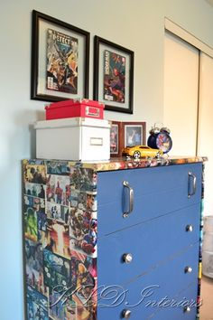 Comic book dresser. Can't decide between blue or red for paint color!