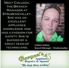 Meet Colleen Vickery our Strubensvalley Branch Manager.  #wekeepthemworking #bergensappliances #appliancerepairs #dishwashers #stoves #washingmachines #tumbledriers #wefixappliances #bergensstrubensvalley  Follow us on Instagram and Pinterest Contact: 072 244 3042 Email:  strubensvalley@bergens.co.za