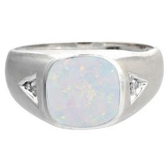 Diamond Antique Cushion Opal Gemstone Men's White Gold Ring Available Exclusively at Gemologica.com