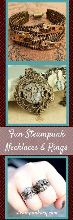 Fun Steampunk Necklaces, Bracelets and Rings for Men and Women is part of jewelry Trends Fun - With steampunk necklaces, you can add elements of hardware, gears, and found objects to create some really awesome jewelry Collar Steampunk, Steampunk Mode, Style Steampunk, Steampunk Design, Steampunk Necklace, Steampunk Fashion, Gothic Fashion, Steampunk Halloween, Steampunk Crafts