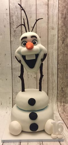 My 16 year old daughter wanted not just any Olaf cake but a floating, life sized head version for her birthday! I found some snaps on google and with a lot of Rice Krispies set about making the head so it was light as possible. I had to get handy and drill through the cake boards for the wooden dowels to ensure he stayed in place. She was thrilled with it.....it wasn't eaten for days as she loved it too much!