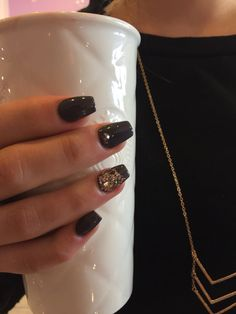Nails by Lauren - ballerina shaped nails or coffin shaped nails with grey gel polish and gold glitter and gold Swarovski crystal nails