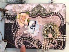 ▶ Shabby Chic Mini Album - nillany YouTube.  I like the use of beaded pearls and feathery embellishments
