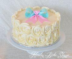 Gender Reveal Cake www.hamleybakeshoppe.com