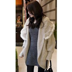 Korean Style Women Bat-Wing Sleeve Big Collar Beige Wool Sweater One... ($28) via Polyvore