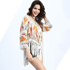 Just listed our new 2017 New Summer S.... Check it out !  http://voguebands.com/products/2017-new-summer-style-women-blouses-sexy-v-neck-feather-print-lace-tassel-crochet-kimono-blouse-ropa-mujer-tops?utm_campaign=social_autopilot&utm_source=pin&utm_medium=pin