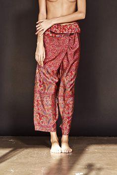 Silk Fisherman's trousers Garden  - resort wear by ddoo collective