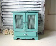 Aqua Mint Musical Jewelry Box, London Leather Vintage Wooden Jewelry Holder…