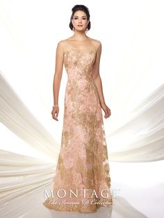Hand-beaded embroidered tulle slim A-line gown with illusion slight cap sleeves, illusion wide scoop neckline over sweetheart bodice, illusion back with covered buttons, sweep train. Matching shawl included. Sizes: 4 – 20 Colors: Rose/Gold, Pewter