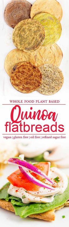 quinoa flatbreads, vegan, vegetarian, whole food plant based, gluten free, recipe, wfpb, healthy, oil free, no refined sugar, no oil, refined sugar free, dinner, side, side dish, dairy free, dinner party, entertaining