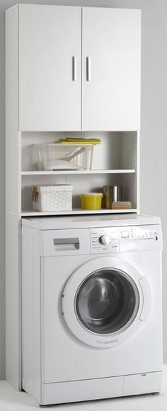 Überbauschrank - Home Page Apartment Laundry, Home Appliances, Kitchen Design Small, Washing Machine, Small Laundry Rooms, Bathroom Interior Design, Organization Bedroom, Food Storage Shelves, My House Plans