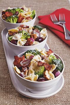 "Juicy grapes, crunchy pecans and salty bacon put a unique twist on classic broccoli-pasta salad. Betty member LibrarianJW raves: ""I took this to a family potluck and everyone loved it!  Even the little kids were eating it."""