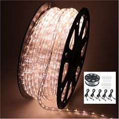 "AGPtek® 50M/164Feet 2 Wire 110v 1″ LED Spacing Rope Light Warm White Christmas Lighting Indoor / Outdoor Rope Lighting with 5 Power Cords   AGPtek® 50M/164Feet 2 Wire 110v 1"" LED Spacing Rope Light Warm White Christmas Lighting Indoor / Outdoor Rope Lighting with 5 Power Cords  Description:     This LED rope light that are versatile and nearly limitless uses in both residential and commercial lighting projects. Sub-miniature bulbs encased in flexible PVC tubing enhancing durability a.."