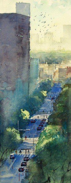 """Watercolor artist Kazuo Kasai (Japanese: 1955)   One day One piece 104 """"Tokyo…"""