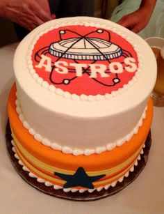 Astros Grooms Cake With Picture Of The Old Astrodome
