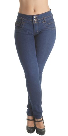"""K346B- Colombian Design, Butt Lift, Levanta Cola, Mid Waist, Sexy Skinny Jeans in Blue Size 13. Butt lift Denim, 3 buttons on a wide waistband makes your tummy looks flatter,. Mid Waist Jeans, contrast stitching, functional front pockets, no back pockets. Fashion Jeans for Women, Like the Brazilian jeans and Colombian jeans styles designed for the """"levanta cola"""" effect. Fabric blended with spandex for stretch and comfort. Style is running small, if unsure; please select a size up. Example…"""